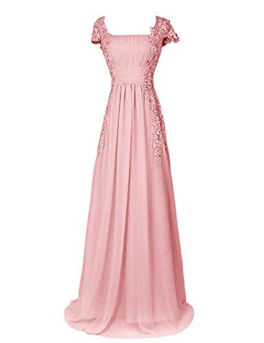 Dressystar Robe femme, Robe de soirée longue,à col carré,fleur,en Mousseline,dentelle Blush