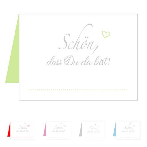 Edition Seidel Set 50 Premium Tischkarten Tischkärtchen Platzkarten Namenskarten Hochzeit - Geburtstag - Taufe - Kommunion - Konfirmation - Firmung - Jugendweihe - Goldene Hochzeit (Hellgrün Grün)
