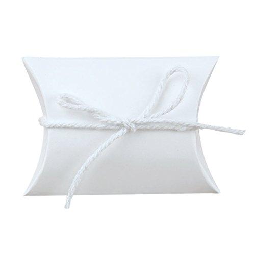 Sumshy 100 pz bianco scatoline scatole portaconfetti per matrimonio incluso corda di canapa, segnaposti regalo per inviti (100 pz, bianco)