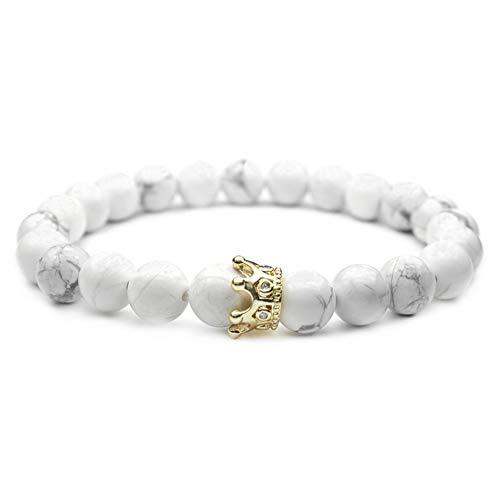 Lovinda 9MM White Pine vulkanischen Stein Scrub Armband mit Metall-Legierung Krone Anhänger Armreifen, Yoga-Armband für Damen und Herren, weiß