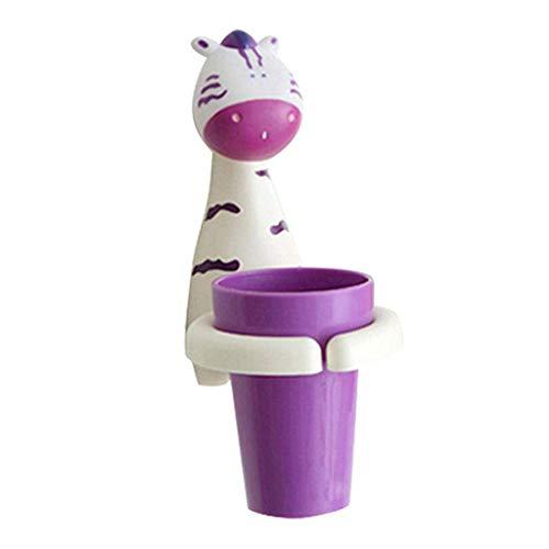 Kinder Cartoon Tier Zahnbürsten Becherhalter, Lebensmittelechtem Kunststoff Schöne Giraffe Zahnbürste Aufbewahrungs Werkzeugschale mit 2 PC Saugnapf, auch für Chidrens Desktop Stifthalter (C) Zebra Design Pc