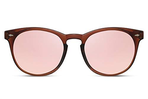Cheapass Sonnenbrille Rund Braun Pink Verspiegelt UV-400 Exklusive Designer-Brille Hipster Plastik Damen Herren
