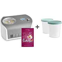 Machine à glace Sorbetière Électrique Elli avec compresseur de 1,2 litre, en acier inoxydable pour yaourt glacé, sorbet et crème glacée, 135 W, écran LCD, Minuterie!