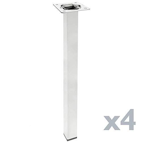 PrimeMatik - Pies Cuadrados para Mesa y Mueble. Patas en Acero Cromado de 75cm 4-Pack