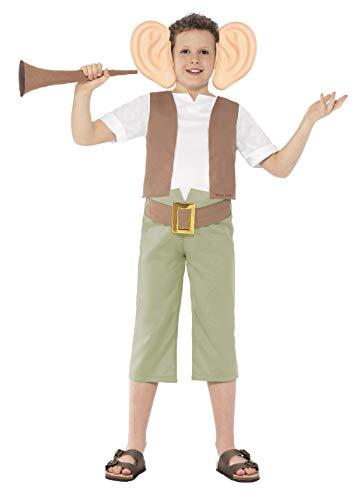 Dahl Kostüm Tag Roald - Smiffys 27145M - Roald Dahl BFG Kostüm mit Top Hosen Ohrstirnband und Horn, grün