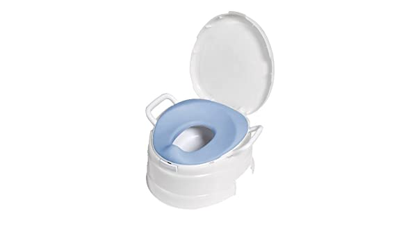 02afa801823 Primo 4-In-1 Soft Seat Toilet Trainer and Step Stool White with Pastel Blue Seat  Infant