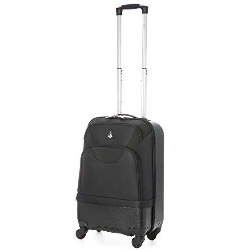 """Aerolite leggero guscio duro di / Soft Shell ibrida ABS / poliestere 4 ruote Spinner bagagli di corsa Valigia (20 """", Nero)"""
