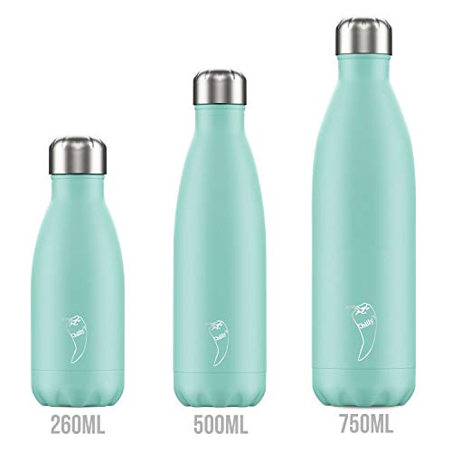 Chilly's Bottles Leak-Proof, No Sweating BPA-Free Stainless Steel Reusable Water Bottle Pastel Green, 500ml