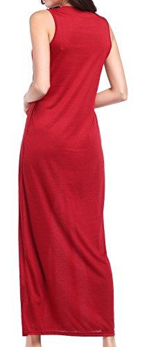 Damen Mode Blusenkleider Rundhals Trägerkleid Katze Print Maxikleider ärmellos Ballkleid Schulterfreies Tuchkleid Loose Sommer Strandkleider Freizeitkleid Rot