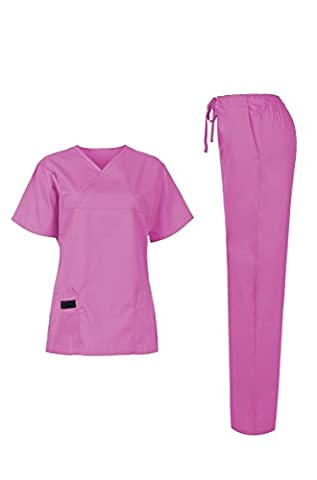 MedPro Women's Medical Scrub Set (Top & Bottom) Hot Pink S (5868)