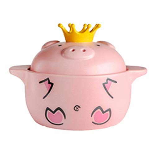 Topf Keramik Topf Süßer Schwein Kasserolle Home Cooker Suppentopf Kasserolle Große Kapazität rosa Suppentopf 2-3 Personen Geschenke, Ton, Rose, 25.5 * 25.5 * 20.7CM -