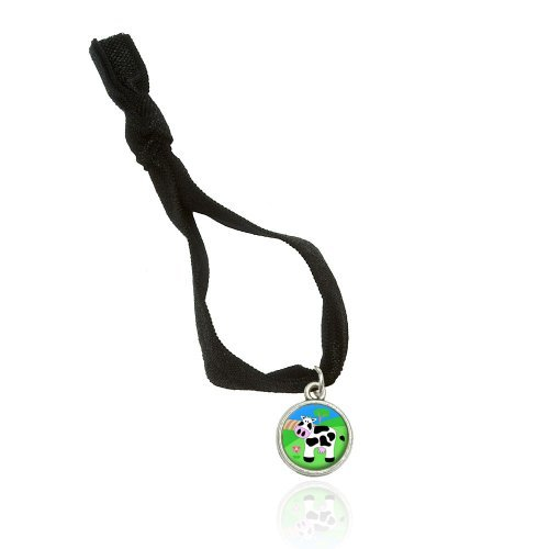 Cow Bracelet Double Fold Over Stretchy Elastic No Crease Hair Tie With Charm