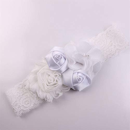 pitze Baby Stirnband Chic Lace Mix 4 Blume Prinzessin Mädchen Stirnband Haarschleife Stirnband Baby Mädchen Kinder Haarschmuck (Color : Weiß) ()