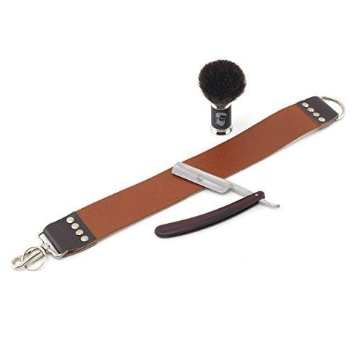 Rusty Bob - Rasiermesser aus Edelstahl im Komplett-Set - Streich-Riemen, Rasier-Pinsel und Rasier-Seife (Set 2) -