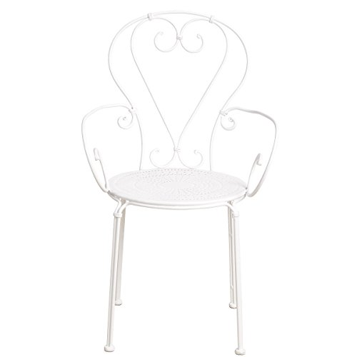 BUTLERS CENTURY Stuhl mit Armlehnen - Balkon-Stuhl - Garten-Stuhl - mit Armlehne - französischer Retro-Stil - rund - Eisen - 41 x 49 x 91 cm Eisen Stuhl