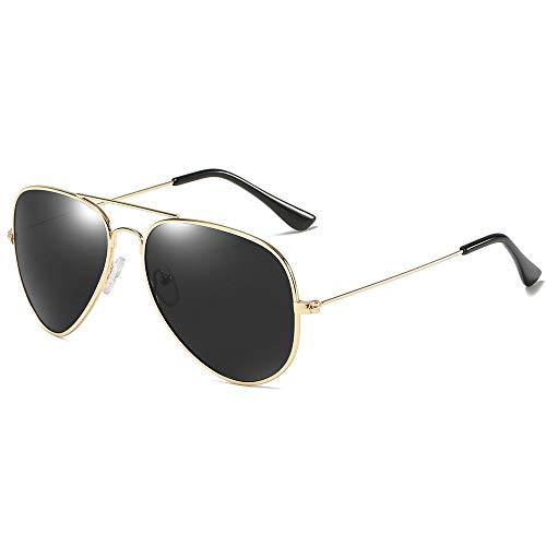 KYS Premium Military Style Classic Aviator Sonnenbrille Spiegel Polarisierte Sonnenbrille UV400 Ultraleichter Metallrahmen Angeln Fahren Sport Nachtsichtgeräte (Color : Gold)