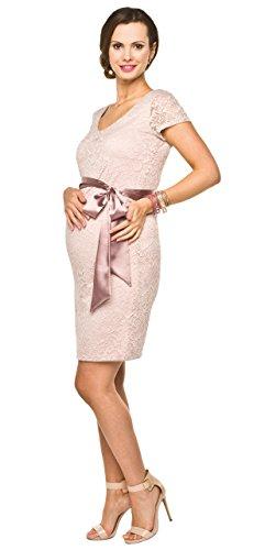 Elegantes hellrosa Umstandskleid aus Spitze mit kurzen Ärmeln
