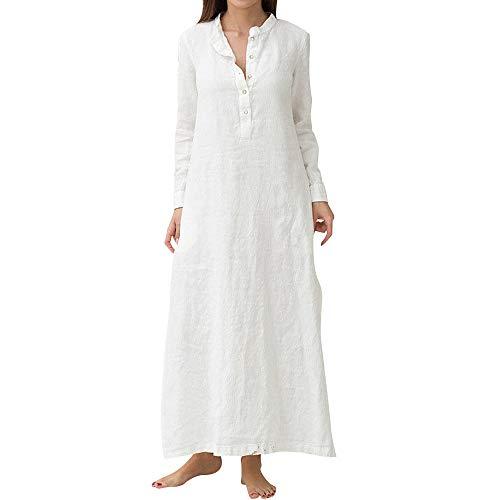 JiaMeng Heißer Frauen Damen Langarm Knopf Loses Waden Baumwolle Umlegekragen Solides Kleid