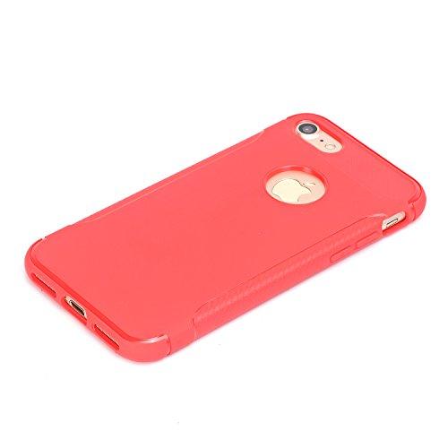 Qiaogle Telefon Case - Weiche TPU Case Silikon Schutzhülle Cover für Apple iPhone 7 (4.7 inch) - YU03 / Schwarz YU01 / Rote