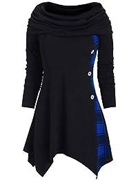 YWLINK 2019 Damen Kleidung,Plus GrößE Frau Mode Solide Gerafft Lange DarüBer Falten Halsband Tunika IrreguläR Oben Bluse Oberteile Pullover