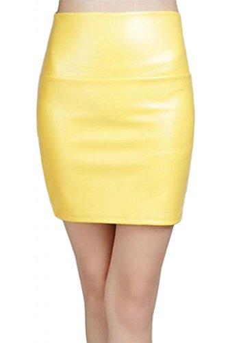 Lotus Instyle Damen Kunstleder Mini Rock Faux Leder kurzer Rock, Gelb, XL -