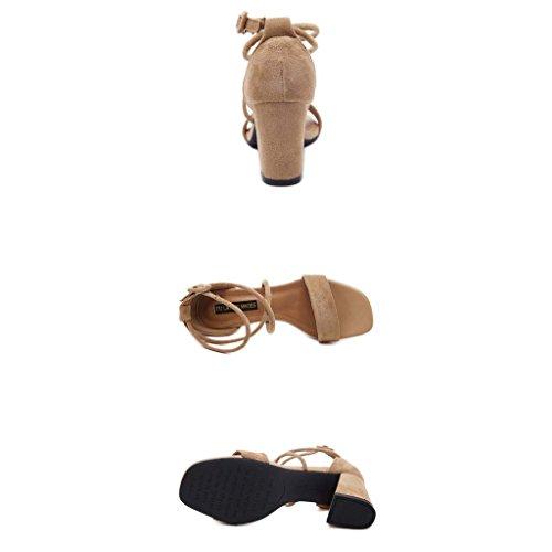 SHEO sandales à talons hauts Braguilles de dames avec bretelles à talons hauts avec des sandales épaisses ( Couleur : Marron , taille : 36 ) Marron