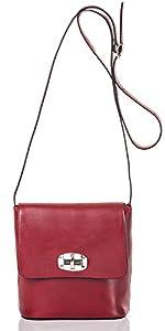 italienische Damen Umhängetasche Madrid aus echtem Leder in wein rot, Made in Italy, Handtasche 20x19cm