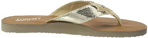 Hilfiger Denim Damen Glitter Beach Sandal Zehentrenner Gold (Light Gold 708)