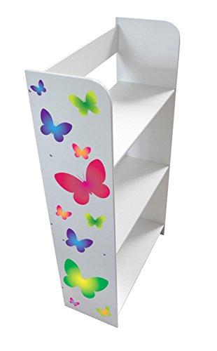 Leomark Estantería De Madera Estantería Para Libros Habitación Librero Para Niños Biblioteca Multiuso Almacenamiento y Organización Para Juguetes Mariposas