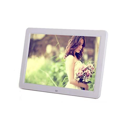 NINI Digitaler Fotorahmen Lithium-Akku 12-Zoll Wide HD LED Multifunktionswerbemaschine Elektronisches Album Weiß und Schwarz,White