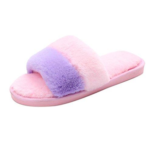 Hlhn pour femme Plat antidérapant doux Fluffy Fausse fourrure Plat Pantoufles Flip Flop Sandale Chaussures pour lintérieur Maison dhiver, gris, 39 Rose