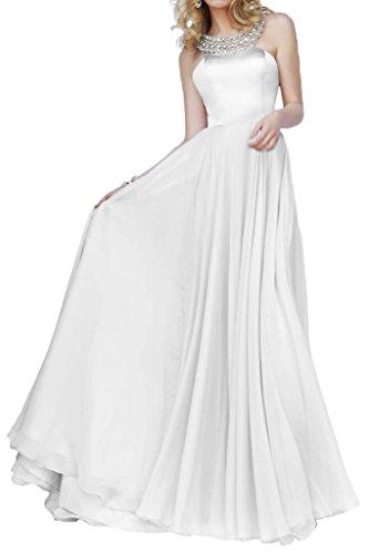 La_Marie Braut Rosa Satin Chiffon Abendkleider Partykleider Promkleider Bodenlang Prinzess A-linie Rock Weiß