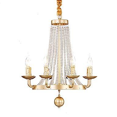WJFXG 8-Licht-Kerzen-Kronleuchter Uplight Painted Finishes Metall Mini Style 110-240V E12 / E14 Für Wohnzimmer Schlafzimmer Küche Esszimmer, 73 X 54Cm,Gold -