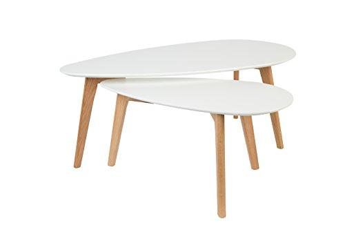Felis Lifestyle Side Table Drop Set of 2, Chêne, Blanc, 100x50x40 cm