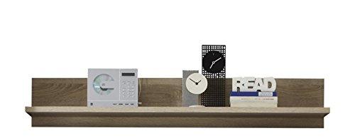 trendteam smart living Wohnzimmer Wandregal Bücherleiste Bücherregal Sevilla, 134 x 24 x 24 cm in Eiche Sägerau Hell Dekor mit reichlich Platz für Dekoration