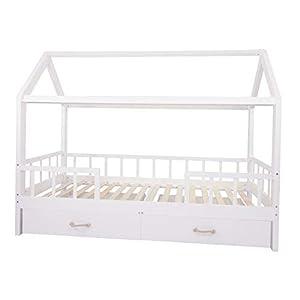 Puckdaddy Hausbett Carlotta – 200×90 cm, Kinder-Bett aus Holz in Weiß mit Bettrahmen im Haus-Design, abnehmbarer…