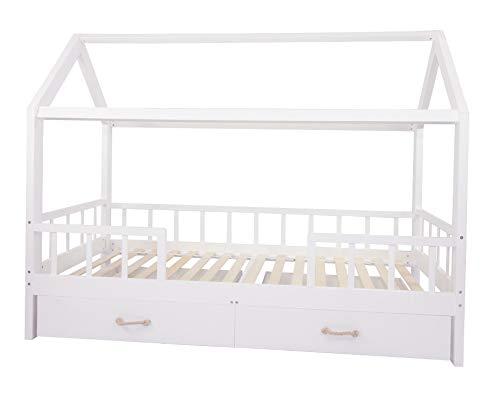 Puckdaddy Hausbett Carlotta - 200x90 cm, Kinder-Bett aus Holz in Weiß mit Bettrahmen im Haus-Design, Rausfallschutz, Schubladen und Lattenrost, hochwertiges Kinderzimmer & Jugendbett für Kinder -