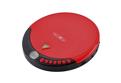 ragbarer CD/MP3-Player mit UKW-Radio (Hörbuchfunktion, Ohrhörer, Netz Batteriebetrieb) rot ()