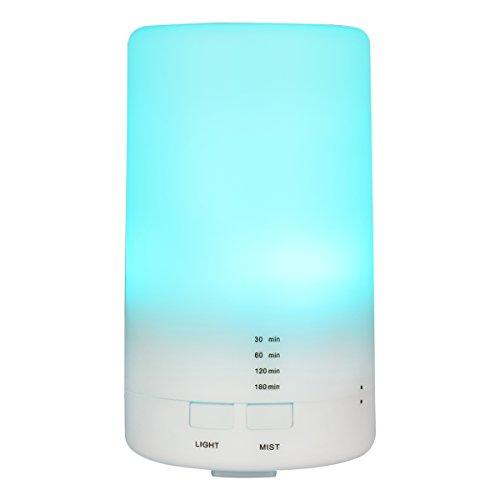 Humidificador Ultrasónico Aromaterapia de Difusor de Aceites Esenciales de Vapor Frío con 7-Color LED y 4 Ajustes de Hora(65ml)