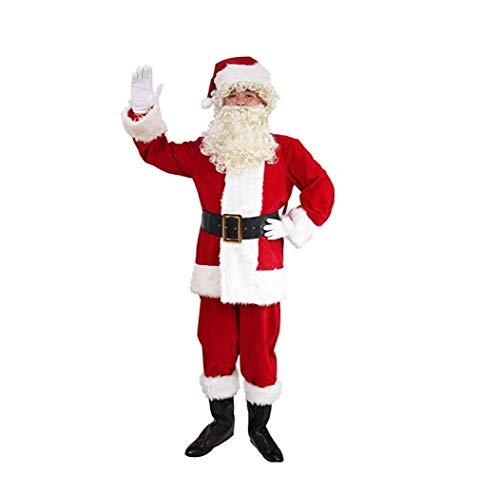 Unbekannt Santa Suit Herren Deluxe Santa Suit 10Pc, Weihnachten Erwachsene Weihnachtsmann, Santa Kostüme, Weihnachtskugel,XXL