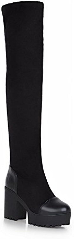 Odomolor Damen Ziehen auf Hoher Absatz Blend-Materialien Rein Hoch-Spitze Stiefel