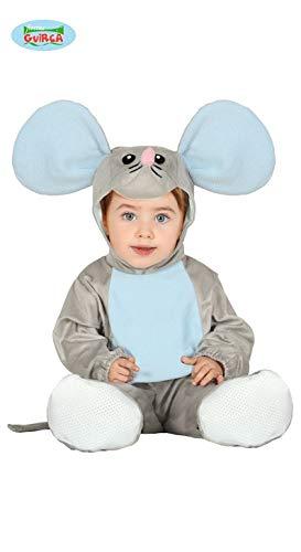 Fiestas Guirca Niedliches Maus-Kostüm für Babys Tierkostüm grau-blau 92 (1-2 Jahre) (Mickey Maus Kostüm Kleinkind)