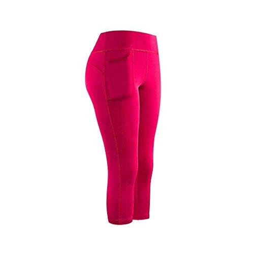 Xuthuly Frauen-Bequeme Ausdehnungs-Yoga-Gamaschen-Eignungs-Hosen beiläufige Feste laufende Turnhallensport-Hose mit Taschen-aktiven Hosen