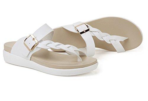 Minetom Donna Ragazza Estate Elegante Fibbia Clip Toe Sandali Piatto Infradito Antiscivolo Traspirante Pantofole Scarpe Bianco