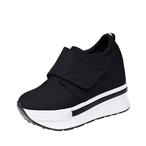 Frauenplattform ErhöHte Interne Keilschuhe Mit Hohem Absatz Slip On Hook Loop Flock Bequeme BeiläUfige Pumps Loop Table
