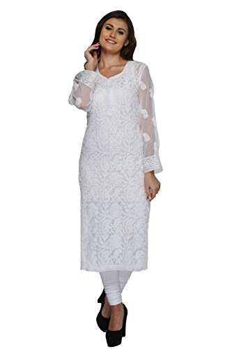 ADA Women's Faux Georgette Kurti (M158876_White_Medium)