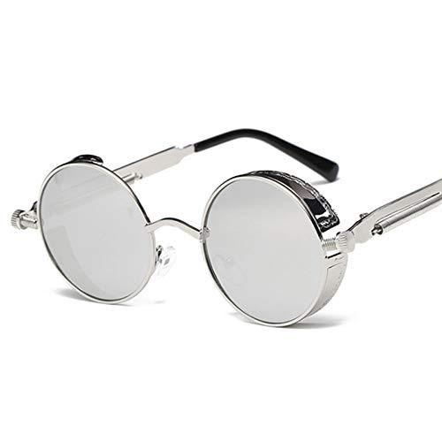 Yangjing-hl Klassische Sonnenbrille runde Persönlichkeit reflektierende Brille Sonnenbrille Männer und Frauen Brille Silberrahmen weiß Quecksilber