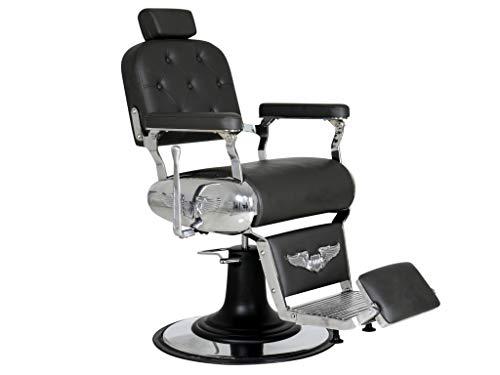Polironeshop harley poltrona professionale per barbiere parrucchiere tattoo (nero)