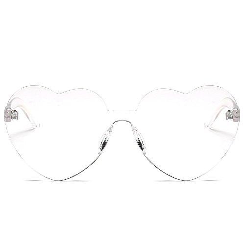Honestyi Damenmode Heart Shades Sonnenbrille Integrierte UV Bonbonfarbene Brille BZ588 Frauen Candy Sonnenbrillen