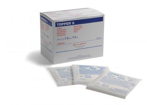 Topper 8 Gauze Swabs 7.5cm x 7.5cm x125 (25 pks of 5) Sterile by Topper